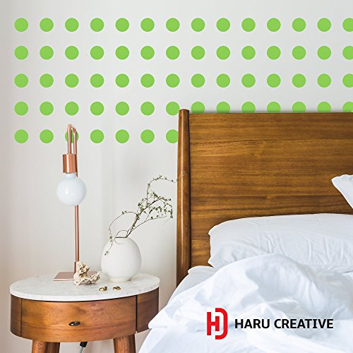 Haru Creative Gloss Polka Dot Wall Decal (2 in X 2 in) for Home Nursery Decor Wall Art, Easy Peel & Stick, Safe Removable - Gloss Green (QTY - Polka Wall Dot Bubble