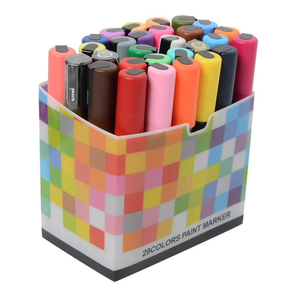 Uni Posca Paint Marker FULL RANGE Set , Mitsubishi ALL Natural & Dark , Gold & Silver Pen Medium Point 29 Color (PC-5M), Original Plastic Box by Uni Posca (Image #4)