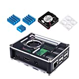 Miuzei Raspberry Pi 3 B+ Case with 5V DC Cooling Fan, 3 Pcs Heat Sinks for Raspberry Pi 3 Model B+, Compatible with Raspberry Pi 3 Model B, Raspberry Pi 2 Model B