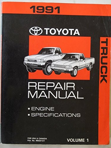 1991 Toyota Truck Repair Manual Volume 1 (Engine Specifications Truck)