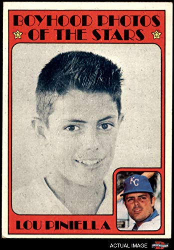 - 1972 Topps # 491 Boyhood Photo Lou Piniella Kansas City Royals (Baseball Card) Dean's Cards 4 - VG/EX Royals