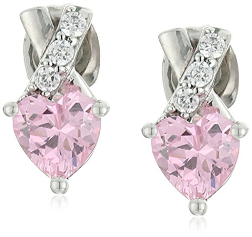 Sterling Silver Pink and White Cubic Zirconia Heart Earrings