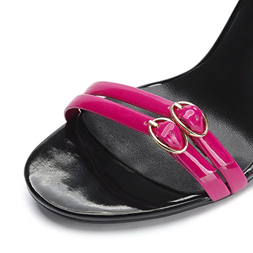 AmoonyFashion Womens Open Toe Spikes Stilettos Patent Leather Solid Buckle Sandals RoseRed ePHqn991W