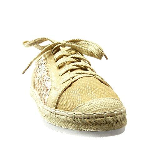 Angkorly - Chaussure Mode Espadrille Baskets bi-matière semelle basket femme résille pailettes corde Talon plat 2.5 CM - Or