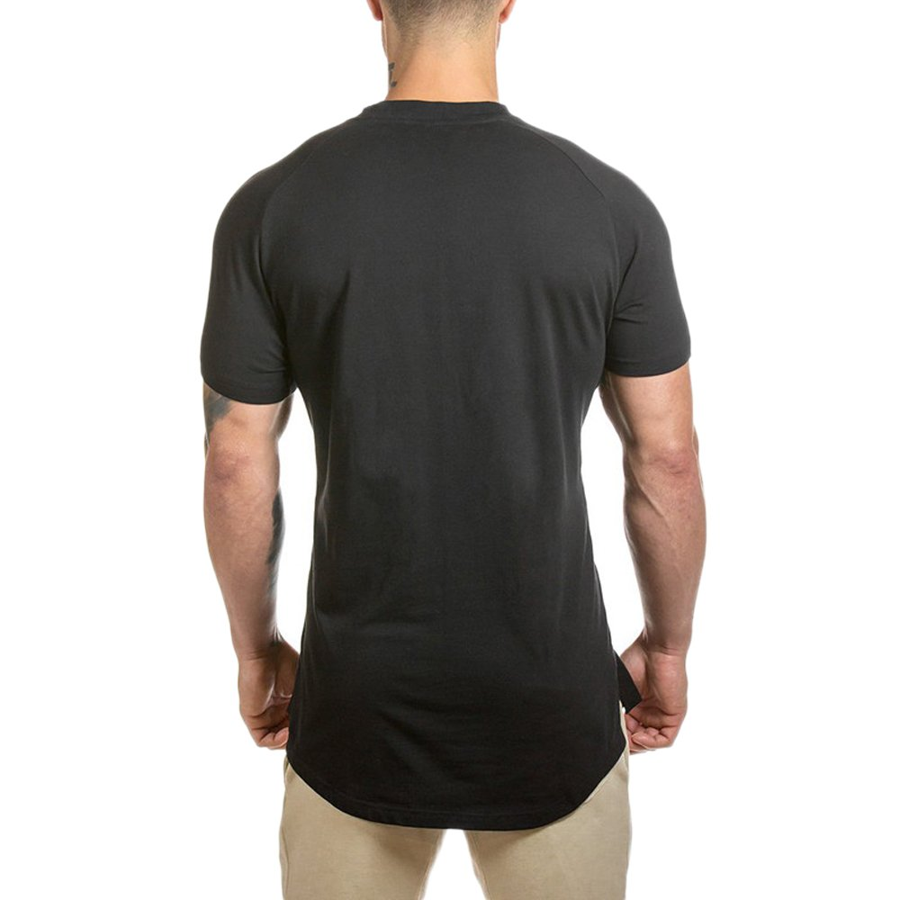 41a9ce004ca Athlemon Mens Hipster Longline Elong T-Shirt Hip Hip Short Sleeve Crewneck  Curved Hem Shirt Tee Top Cool Streetwear Outfits