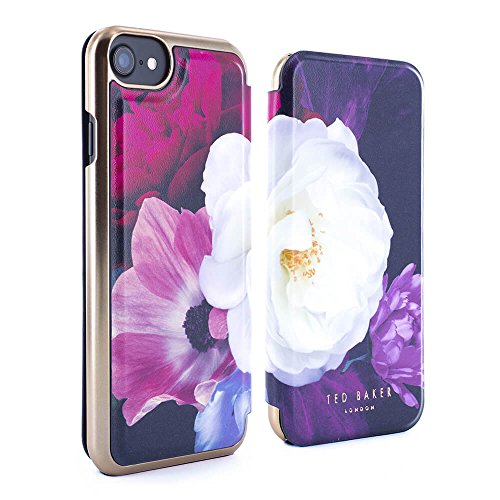 Official Ted Baker® SS17 Folio Style Case for Apple iPhone 8 / 7 - Fashion Branded Mirror Case for Professional Women Pretty Flower Floral Print - CANDACE - Blushing Bouquet
