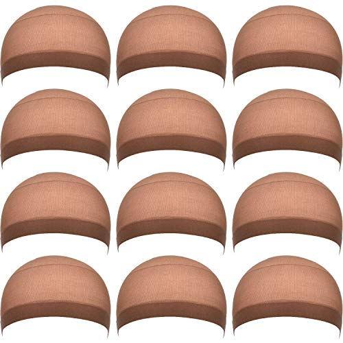 eBoot 12 Pack Nylon Wig Caps for Women and Men (Light Brown)]()