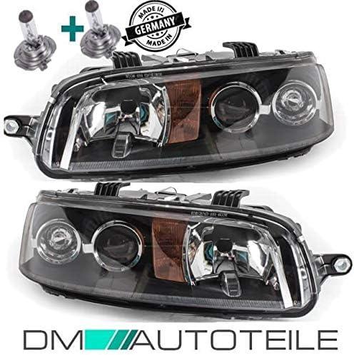 DM Autoteile Punto 188 Scheinwerfer Rechts Links H7//H7 schwarz 99-01+Birnen ohne Nebel