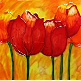 Continental Art Center BD-2180 8 by 8-Inch Red Tulips Ceramic Art Tile