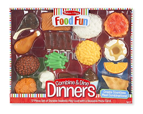 Melissa & Doug  Food Fun Combine & Dine Dinner Set, - Nutrition Food Cards Fun