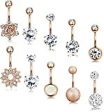 LOLIAS 10 Pcs 14G Belly Button Rings for Women Girls Navel Barbell Rings Body Piercing Jewelry RG