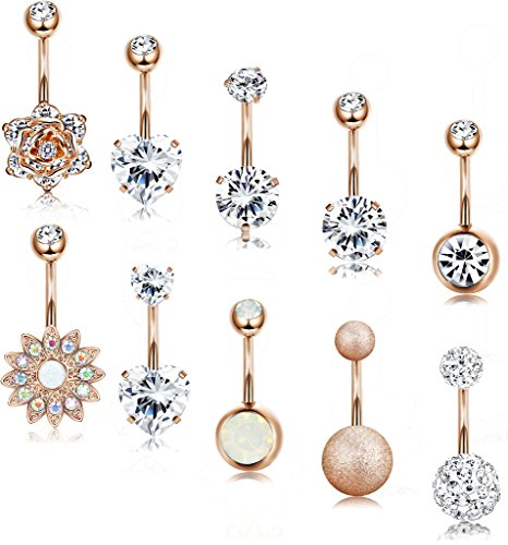 LOLIAS 10 Pcs 14G Belly Button Rings for Women Girls Navel Barbell Rings Body Piercing Jewelry ()