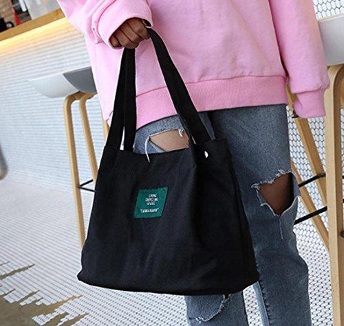 Negro Hombro y para V ESAILQ Mujer Grande de Niña Bolsos Negro Lona de Shoppers Baratos Bandolera 5SqHxwZ4nz
