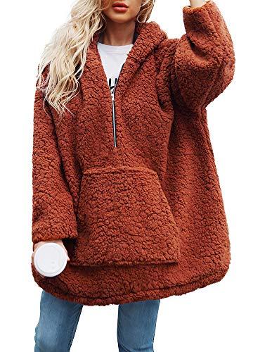 Fleece De Cashmere Exteriores Pullover Con Romacci Suelta Brown Prendas Abrigo Gruesa Caliente Invierno Capucha Vestir Mujer 5YAAq0xg