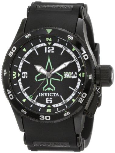 Invicta Men's 1763 Aviator Flight Black Dial Black Polyurethane Watch