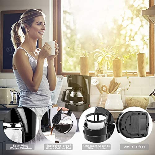4 Cup Coffee Maker Drip Coffee Machine Silent Operation Anti-drip Coffeemaker with Coffee Pot and Removable Filter for Office Home, Black