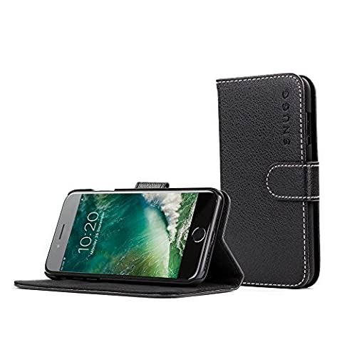 Snugg Legacy Leather Flip Wallet Case with Card Slots for iPhone 7 – Black - Fare Body Glitter