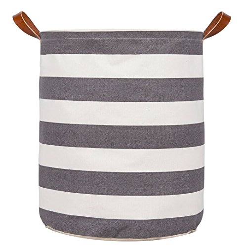 Large Storage Basket, Heavy Duty Canvas Storage Bin, Toy Box/ Toy Storage/ Toy Organizer for Boys and Girls, Kids Laundry Basket/ Nursery Hamper - HVS (Gray Rugby Stripe)