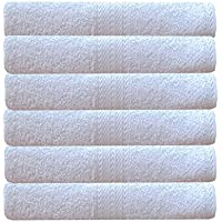 Akin Towel White Cotton 550 GSM Hand Towels Set of 6 (Length=24 Inches, Width=16 Inches)