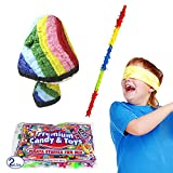 Multicolored Mushroom Pinata Kit Including Pinata, 2 lb Candy Filler, Buster Stick and Bandana