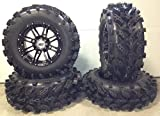 Bundle - 9 Items: STI HD3 14'' Wheels Black 28'' Swamp Lite Tires [4x137 Bolt Pattern 10mmx1.25 Lug Kit]
