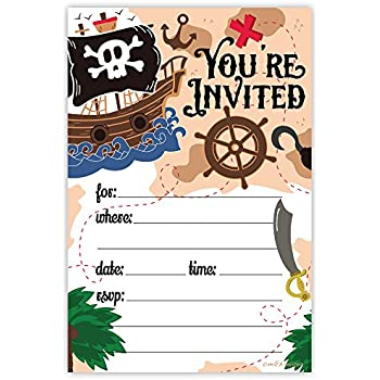 amazon com pirate birthday party invitations 20 count with