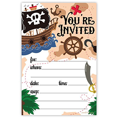 Pirate Birthday Party Invitations (20 Count) With Envelopes -
