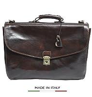Alberto Bellucci Italian Leather Triple Compartment Messenger Briefcase by Alberto Bellucci