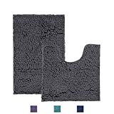 Bathroom Rugs and Mats Sets 2 Piece,Super Absorbent Bath Rugs for Bathroom Mats with 1'' Microfiber,Anti-Slip Soft Plush Shower Rugs +Toilet Mat,Machine Washable Bath Rugs Set (Curved Set, Dark Gray)