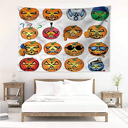 Sunnyhome Tapestry for Living Room,Halloween Pumpkin Emoji,Living Room Background Decorative -