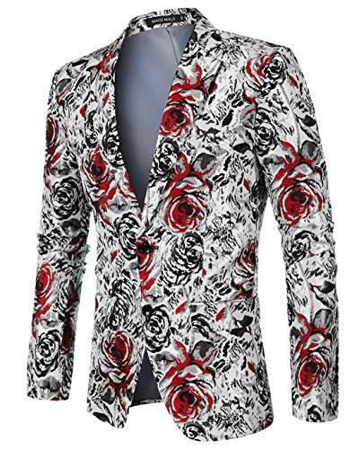 MAGE MALE Men's Dress Floral Blazer Suit Slim Fit Two Button Notched Lapel Elegant Prom Party Tuxedo Suit Jacket
