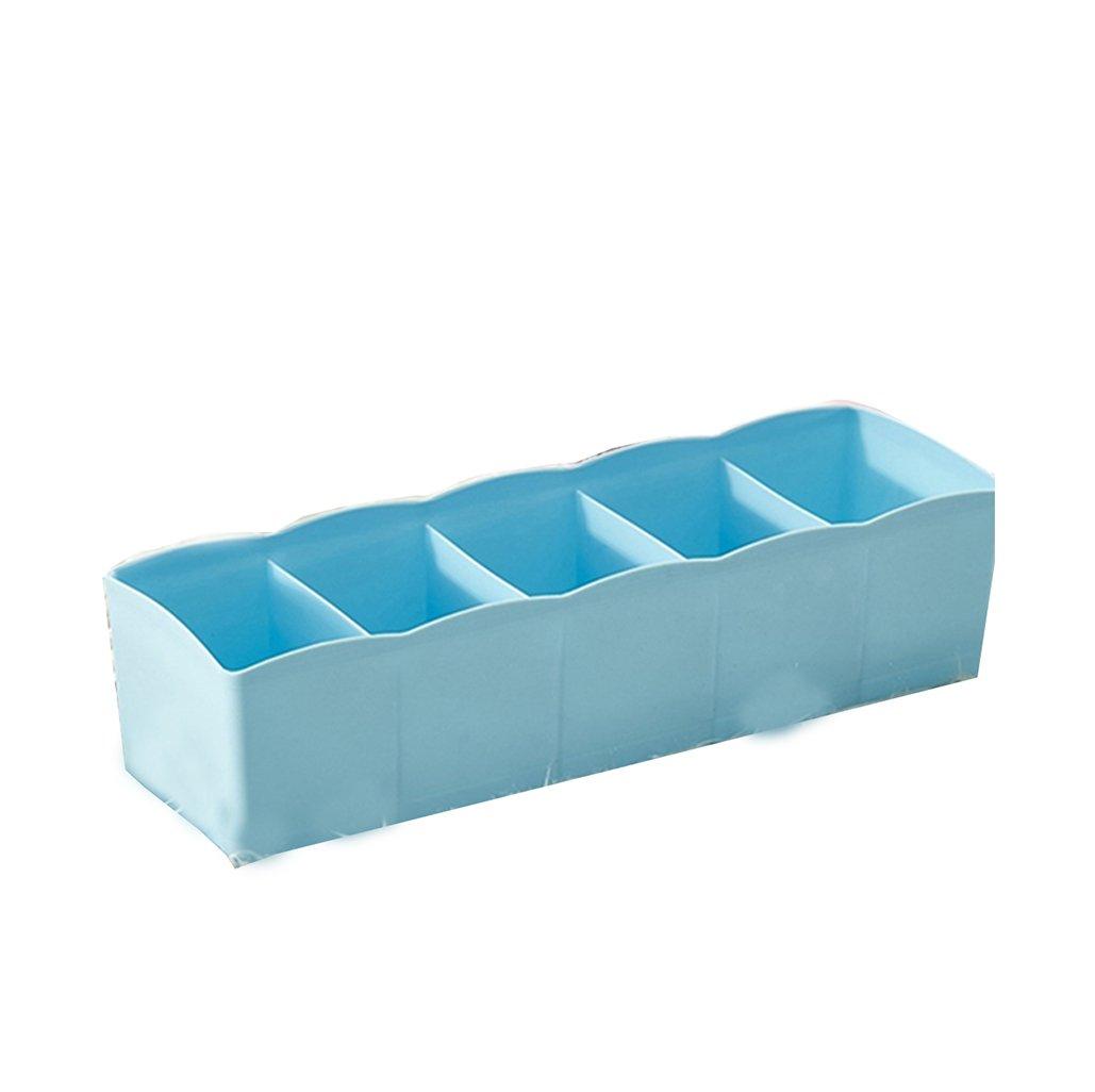 5-Grid Plastic Storage Box Closet Dresser Drawer Divider Basket Bins Cosmetic Organizer for Underwear, Bras, Socks, Ties, Scarves (Blue)
