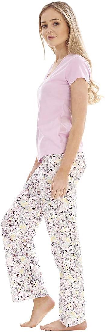 Ladies Pure Cotton Shirt Sleeve PJ/'S Floral Print Pyjama Set