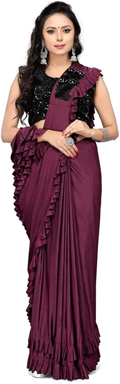 Festive Wear and Party Wear Plain Pure Chiffon Sarees Bordered Simple Saree for Women and Bridesmaid