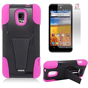 [SlickGearsTM] Heavy Duty Impact Armor Kickstand Case for ZTE Mustang Z998 (AT&T) + FREE Premium LCD Screen Protector (Pink)