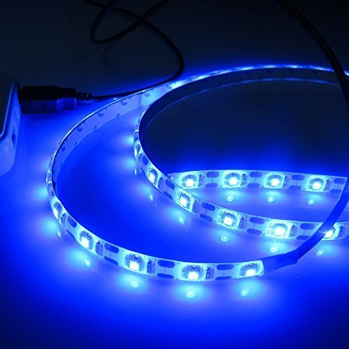 SurSync Battery Operated Lights Battery Powered Lights Led Flexible Strip Light 3528 1m 3AA Battery Controler Blue Light (Best Places To Tent Camp In Pa)