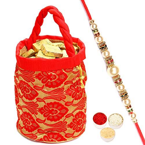 Brocade Pearl - Ghasitaram Gifts Rakhi Gifts for Brother Rakhi Chocolates - Chocolates in Brocade Potli with Pearl Rakhi