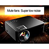 Pico Projector, SJY HD 170'' Mini LCD LED 800x480P Entertainment Multimedia Video Projector Zoom Adjust Mute Fans with USB AV SD HDMI VGA Interface Video Games Movie Night (black)