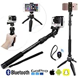 Premium HD Selfie Stick & Tripod 3-in-1 Photo/Video Kit for New iPhone 7, GoPro Hero5, Android or Camera | Bluetooth Remote | Universal Mount (iPhone7 Plus/6+/6/5, Hero Black/4/3 etc.)