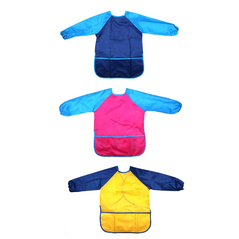 3X Long Sleeved Bib Waterproof Bibs-6to24 Months Baby Girl and boy Colors Aprons
