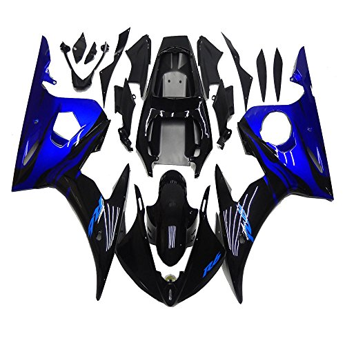 (NT FAIRING Glossy Black Blue Injection Mold Fairing Fit for Yamaha YZF 2003-2005 R6 & 2006-2009 R6S New Painted Kit ABS Plastic Motorcycle Bodywork Aftermarket)