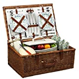 Picnic at Ascot Dorset English-Style Willow Picnic Basket with Service for 4  - Gazebo