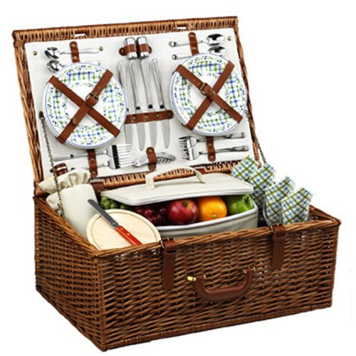 - Picnic at Ascot Dorset English-Style Willow Picnic Basket with Service for 4  - Gazebo