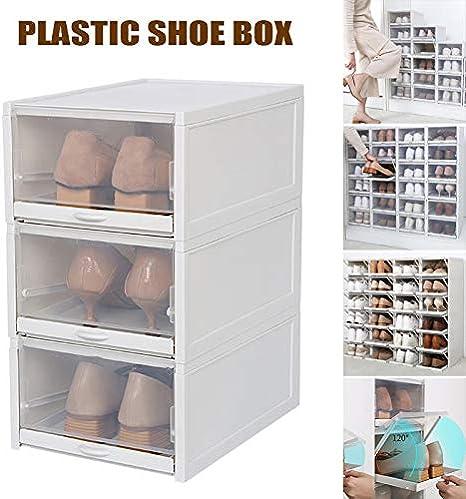 Martinimble Shoe Box Storage Organizer,3 Pack//Set Stackable Storage Shoe Box Clear Plastic Shoes Containers Cases Single Box Size:14.1x33.5x23.5cm;Set Boxes Size:42.3x33.5 x 23.5cm