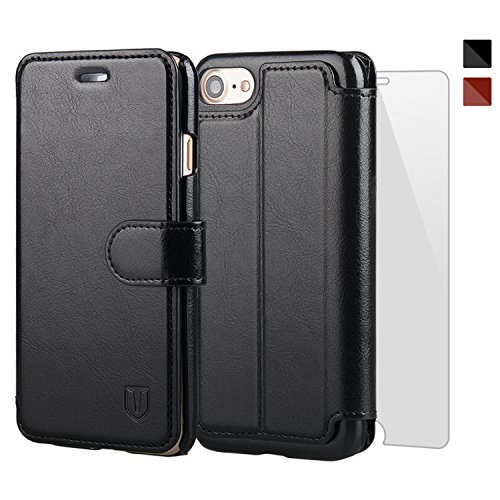 TANNC iPhone 8 Wallet Case, iPhone 7 Case, Flip Leather Phone Case [Screen Protector Included] [Card Slot] [Kickstand] - for iPhone 8 and iPhone 7 - Black (Leather Flip Case)