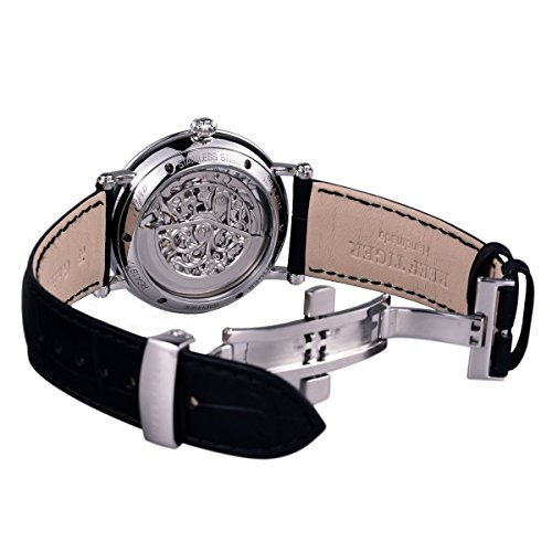 Reef Tiger Business Vintage Watches for Men Ultra thin Skeleton Dial Calfskin Leather Strap Watch RGA1917 by REEF TIGER (Image #3)