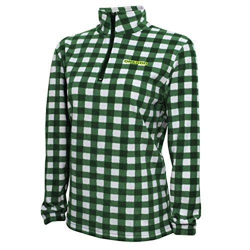 NCAA Oregon Ducks Adult Women Women's Campus Specialties Quarter Zip Buffalo Check Fleece, Medium, Dark Green/White