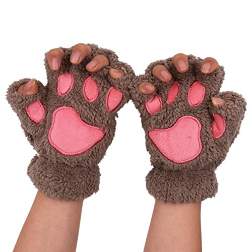 Witery Women Girls Plush Gloves Fingerless Thick Warm Wool Gloves Thermal Mitten