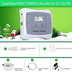 ATNJ 2G 3G 4G Dual Band 850/1700MHz Mobile Signal Booster kits Cell Phone Repeater cover 3500 Square feet for home use with Penal antenna