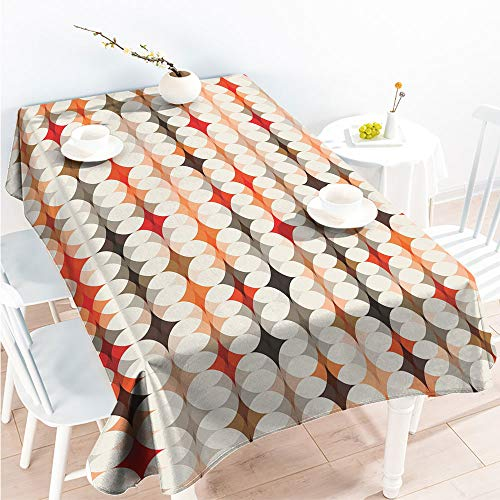 ScottDecor for Spring/Summer Tablecloth Decorative Fabric Table Cover Vintage Oval Pattern with Radiant Tone Effects Mosaic Illustration W 50